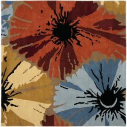 Handmade Soho Floral Brown New Zealand Wool Rug (6' Square)
