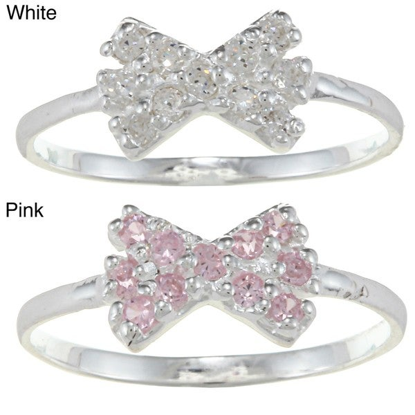 Gioelli Sterling Silver Clear Cubic Zirconia Bow Baby Ring