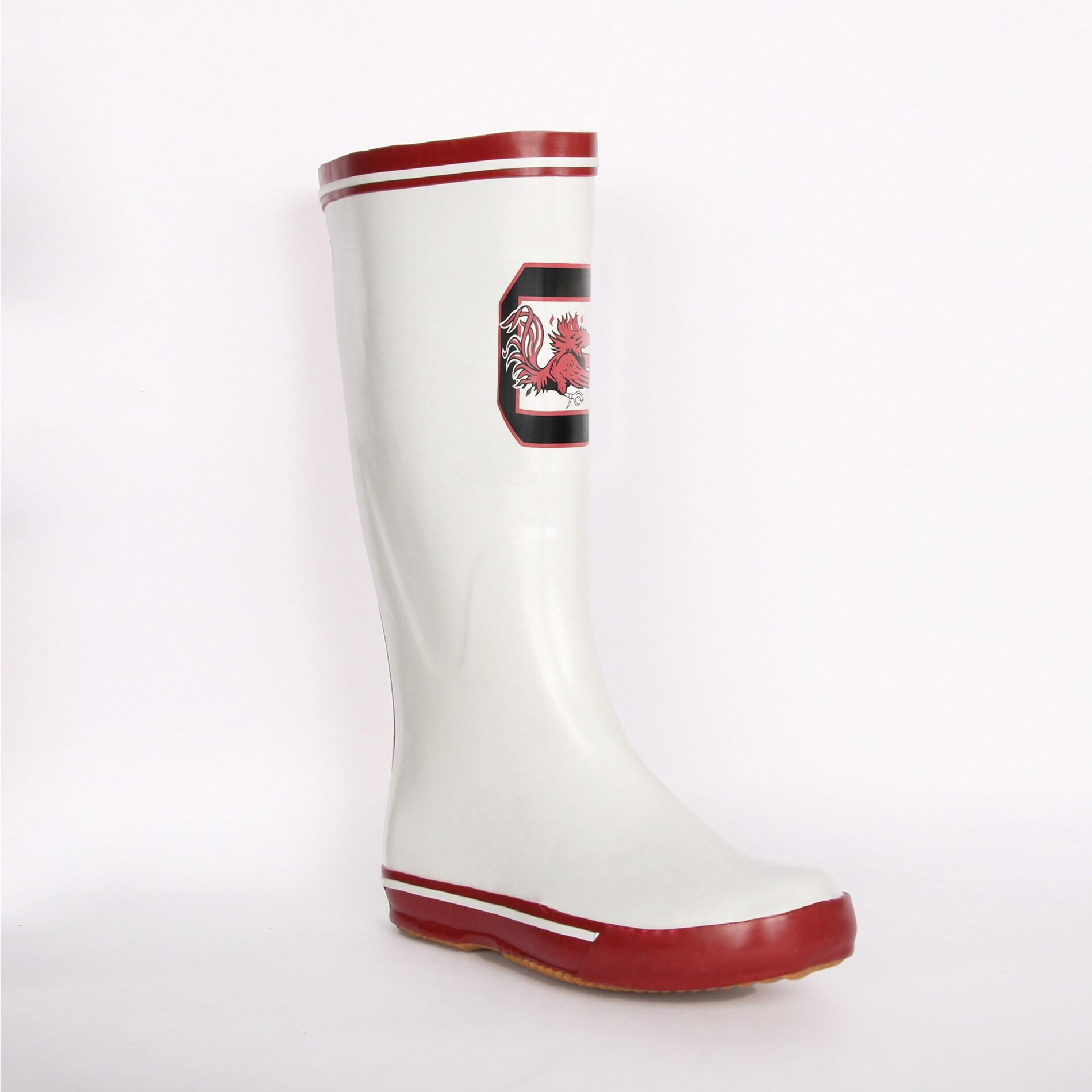 South Carolina Gamecock Women's White Logo Rain Boots