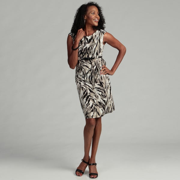 Connected Apparel Women's Olive Abstract Belted Dress
