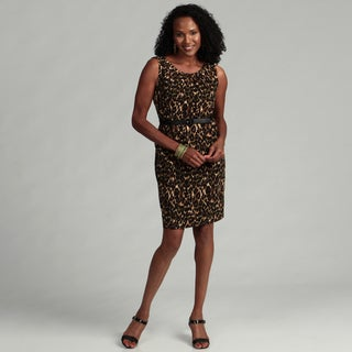 Connected Apparel Women's Kiwi Animal Print Dress