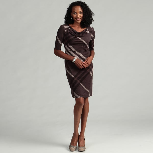 Connected Apparel Women's Brown Drape Front Dress