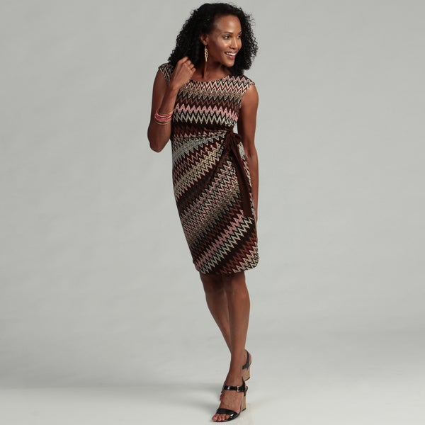 Connected Apparel Women's Brown Print Ruched Dress