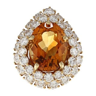 18k Yellow Gold Citrine and 4ct TDW Diamond Cocktail Ring (H-I, VS1- VS2)