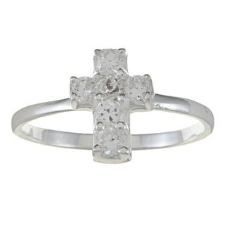 Sterling Silver Clear Cubic Zirconia Cross Baby Ring