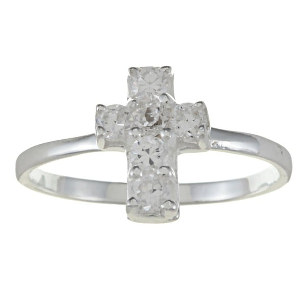 Gioelli Sterling Silver Clear Cubic Zirconia Cross Baby Ring