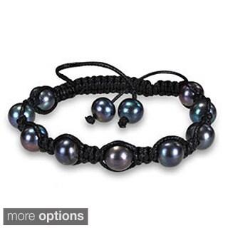 M by Miadora Freshwater Pearl Silk Cord Macrame Bracelet (9-10 mm)