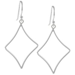 La Preciosa Sterling Silver Diamond Shape Dangle Earrings