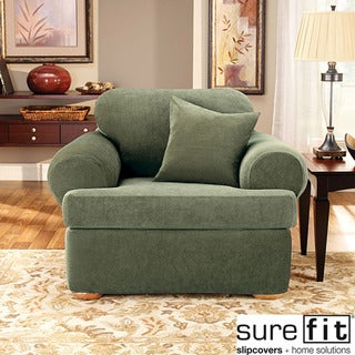 Stretch Pique 3-piece T-cushion Chair Slipcover