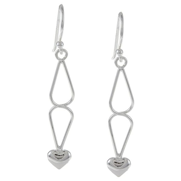 La Preciosa Sterling Silver Twisted Top and Small Heart Dangle Earrings