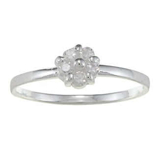Sterling Silver Clear Cubic Zirconia Flower Baby Ring