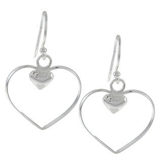 La Preciosa Sterling Silver Open Heart and Small Inner Heart Earrings