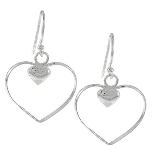 La Preciosa Sterling Silver Open Heart and Small Inner Heart Earrings