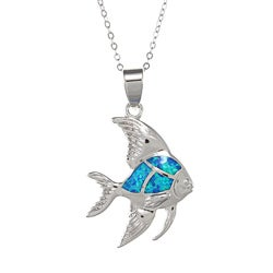 La Preciosa Sterling Silver Created Blue Opal Inlay Fish Necklace