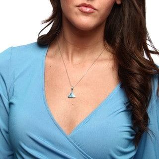 La Preciosa Sterling Silver Created Blue Opal Celtic Knot Necklace