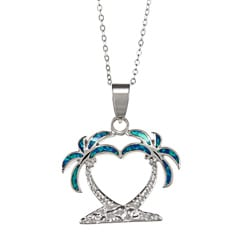 La Preciosa Sterling Silver and Blue Inlay Opal Palm Trees Necklace