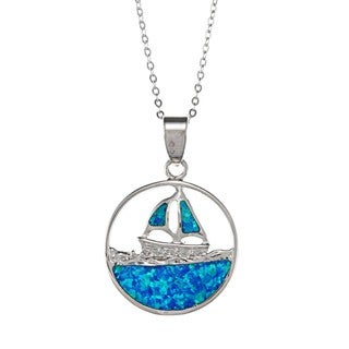 La Preciosa Sterling Silver Created Blue Opal Boat on Water Necklace