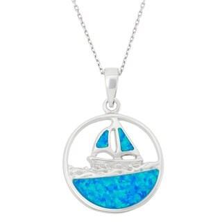La Preciosa Sterling Silver Created Blue Opal Boat on Water Necklace