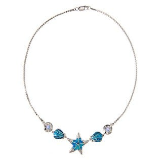 La Preciosa Sterling Silver Created Blue Opal Sea Life Necklace