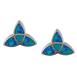La Preciosa Sterling Silver Created Blue Opal Celtic Knot Earrings