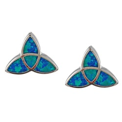La Preciosa Sterling Silver Created Blue Opal Celtic Knot Earrings