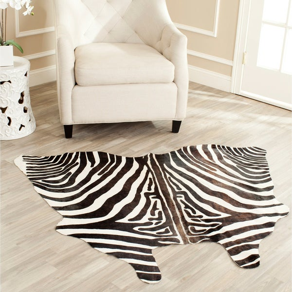 Safavieh Handpicked Hacienda Argentinian Zebra Print Cowhide Leather Rug (4'6 x 6'6)