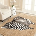 Handpicked Hacienda Argentinian Zebra Print Cowhide Leather Rug (5&#39; x 7&#39;)