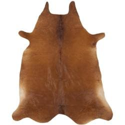 Handpicked Hacienda Argentinian Brown Cowhide Leather Rug (5' x 7')