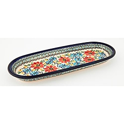 Oval Blue and Red Floral Polish Stoneware Serving Dish (Poland)
