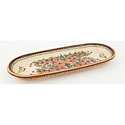 Oval Butterfly and Poppy Polish Stoneware Serving Dish (Poland)