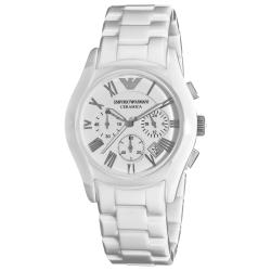 Emporio Armani Women's 'Ceramic' White Dial Chronograph Watch