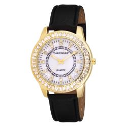 Vernier Women's V11010 Round Baguette Bezel Strap Fashion Watch