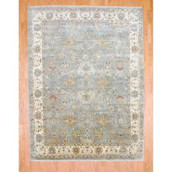 Indo Hand-knotted Oushak Light Green/ Ivory Wool Rug (8'11 x 11'10)