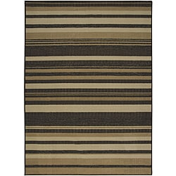Tufted Sisal Printed Indoor/Outdoor Chocolate-Stripes Geometric Rug (5' x 7')