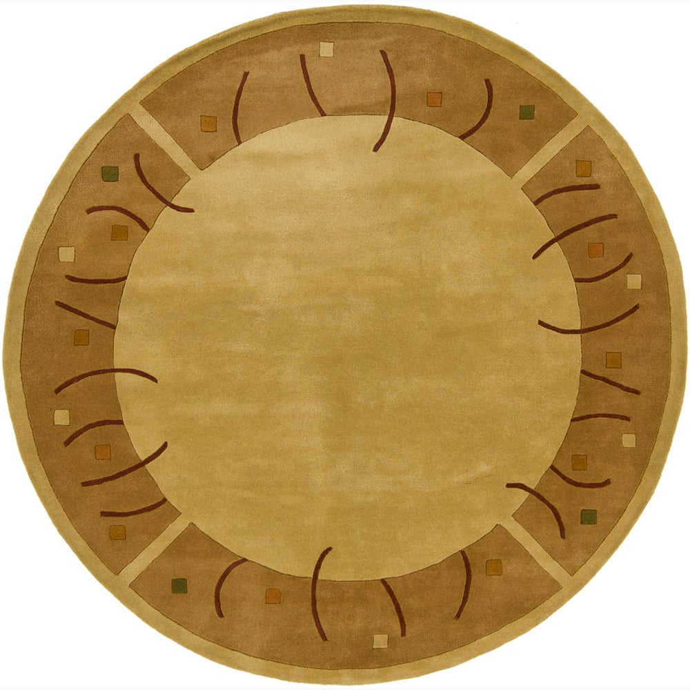 Hand-tufted Mandara Gold Wool Rug (7'9 Round)