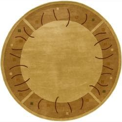 Hand-tufted Mandara Gold Wool Rug (7'9 Round)