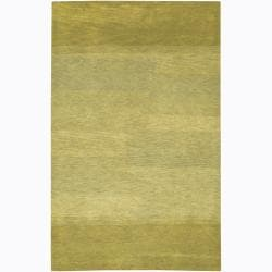 Hand-Tufted Mandara Green/Yellow Wool Rug (5' x 7'6