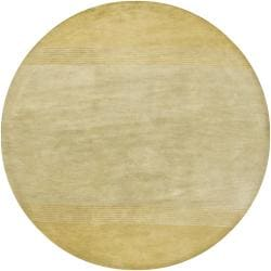"Hand-Tufted Mandara Green/Yellow Wool Rug (7'9"" Round)"