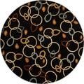 Hand-tufted Mandara Black Wool Rug (7'9 Round)
