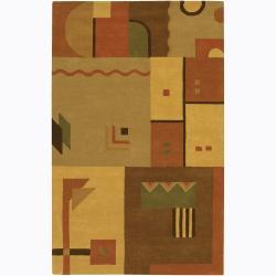 Hand-Tufted Geometric Contemporary Mandara Wool Rug (7'9 x 10'6)