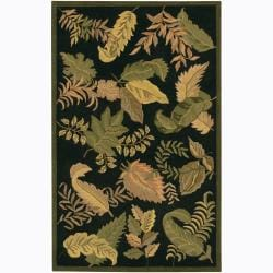 Hand-Tufted Mandara Black/Green Floral Wool Rug (5' x 7'6)
