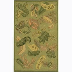 Hand-tufted Mandara Green Floral Wool Area Rug (7'9 x 10'6)