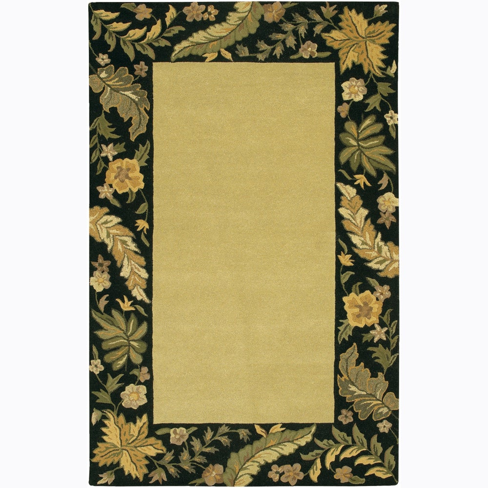 Hand-tufted Mandara Floral Border Wool Rug (7'9 x 10'6)