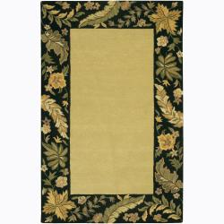 Hand-tufted Mandara Floral Border Wool Rug (7'9 x 10'6)