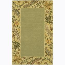 Hand-tufted Mandara Floral Border Wool Rug (5' x 7'6)