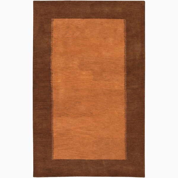 "Hand-Tufted Mandara Orange Wool Border Rug (7'9"" x 10'6"")"