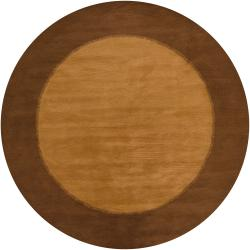 Hand-tufted Mandara Orange Contemporary Wool Rug (7'9 Round)