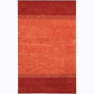 "Large Hand-Tufted Mandara Orange Wool Rug (5' x 7'6"")"