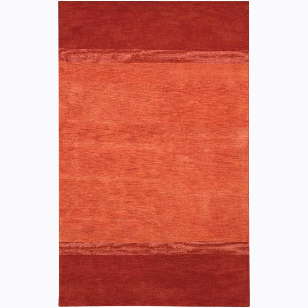"Contemporary Hand-Tufted Mandara Orange Wool Rug (7'9"" x 10'6"")"