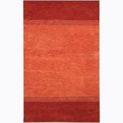 "Contemporary Hand-Tufted Mandara Orange Wool Rug (7'9"" x 10'6"")"